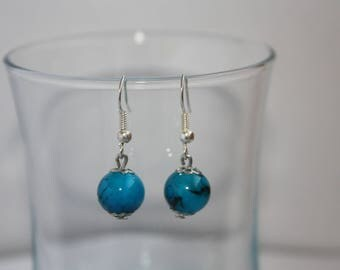 Earrings Pearl blue and black marbled
