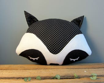 Raccoon black polka dot decorative pillow