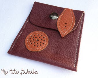 Leather case light brown-Burgundy/Brown clutch purse