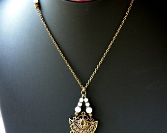 Fan necklace * stones and BRONZE * Amazonite
