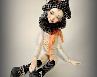sold. Tan-Tin art doll, OOAK, artist rag doll, collection doll