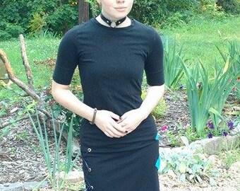 M, Black A-line Lace-up Skirt