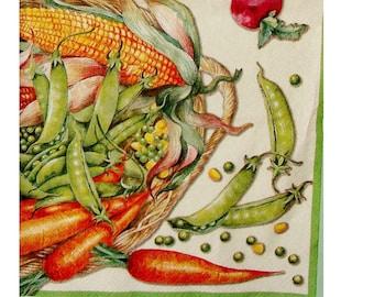 Set of 3 napkins FRU069 vegetable boxes