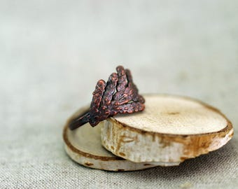 Juniper Branch Ring, Copper Electroformed ring, copper leaf ring 18,0 mm