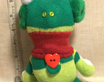 Handmade Artistic Inspirational #3 Listening to Music Green Sock Frog Collectable Stuffed Animal Sock Doll Christmas Gift Birthday Gift