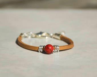 Red Bracelet For Women, Beads Bracelet, Delicate Bracelet, Wrap Leather Bracelet, Glass Beads Bracelet, Ideal Gift For Her.
