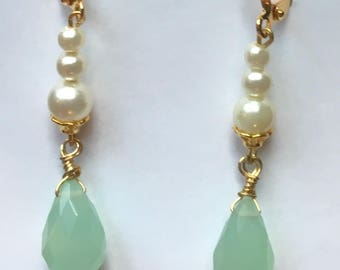 Green Glass and Pearl Earrings