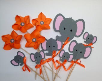 Set of 7 cake topper, elephant and 4 pinwheels, customizable on request