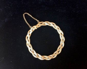 Vintage Winard 12K Gold Filled Triple Strand Herringbone Braided Chain Bracelet