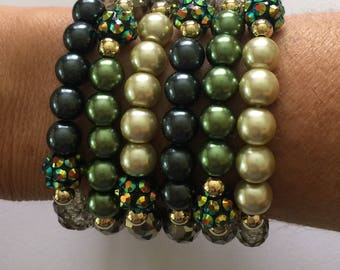 Bead Bracelet Stack/Green Pearl/Crystals