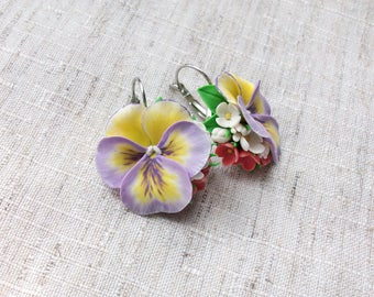 Flower composition with violet pansies Handmade pansies earrings Pansies jewelery Violet&yellow flower Gift for girlfriend