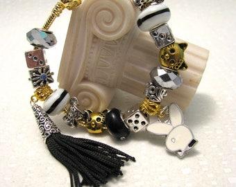 Woman jewelry Pandora style bracelet / Pandora bracelet/ European style bracelet/Playboy jewelry/ Boho style bracelet/Hefner/charm