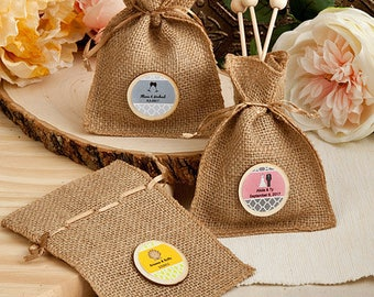 36 Personalized Burlap Favor Bags from the Perfectly Plain Collection - Set of 36