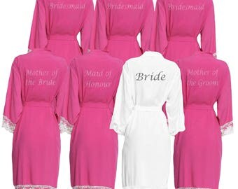 Personalised Fuschia Pink Lace cuff Bridal Party Robes - Dressing Gowns - Robes- Bride - Bridesmaid -Glitter Print Bridal Dressing Gown