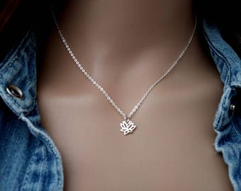 Lotus Necklace, 925 Sterling Silver Lotus Charm, Lotus Necklace Silver - Lotus Pendant -