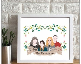 Custom Portrait | personalized illustration, custom illustration, wall art, personalized drawing, anniversary gift, Christmas Gift