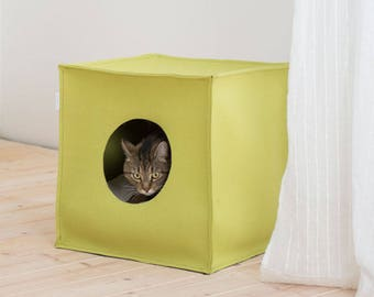 Mood Cat House in felt 44 x 44 cm, cat bed with pillow, cat cave design