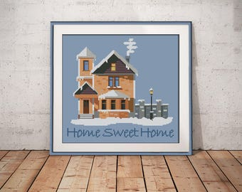 Home sweet home cross stitch pattern Winter house pattern Moving gift friends gift for family gift Wall Decor easy xstitch pattern modern