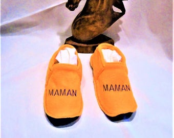 Washable fleece slippers embroidered MOM t 37/39