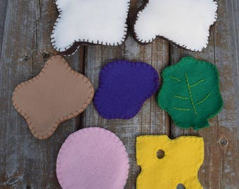 Felt sandwich kit with  bag- play food, pretend play/kitchen food/fake food/kids toys/storage bag/peanut butter and jelly/cheese