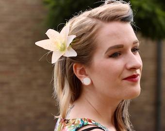 White Lily hair flower clip