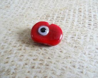 Black eye made 19mm red glass bead