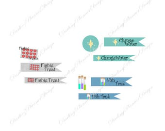 Fish Tank Planner Stickers - 6 months worth of Water Changes, Chemistry Checks, and Treat reminders - Icons and Flags available