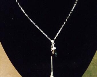 Black Onyx Teardrop Asymmetrical Necklace