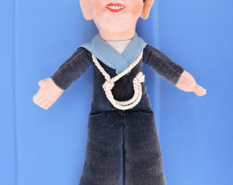 Jolly Sailor Boy Felt Cloth Doll by Norah Wellings in 1950s from Victoria BC
