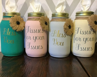 Custom Mason Jar Tissue Holder