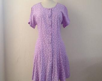 1980's floral dress/ purple dress/ vintage dress