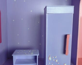 set of bedroom closet and nightstand for 12 inch doll scale 1:6, mini closet with bedside table to play with doll