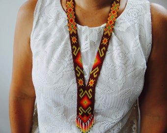Small brown loomed beaded necklace