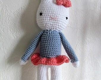 Camille the Hare 100% hand crocheted amigurumi plush cotton