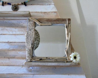 miroir en bois flott sculpt par l 39 oc an. Black Bedroom Furniture Sets. Home Design Ideas