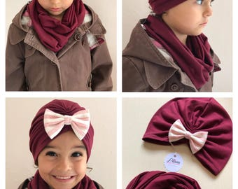 Turban hat and scarf set