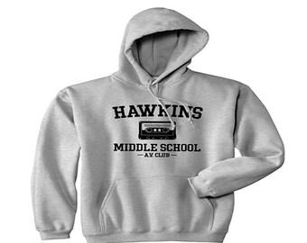 Stranger Things Hoodie// Stranger Things Sweatshirt// Hawkins Middle AV Club