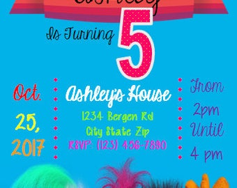 Custom Trolls Birthday Party Invitation