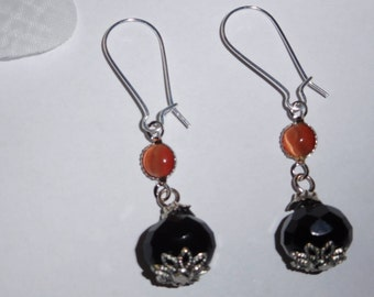 Silver plated Stud Earrings orange and black