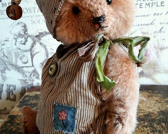 Collectible bear Osvald, bear, vintage bear, OOAK bear, handmade collectible, handcrafted, unique gift, unique toy, exclusive toy