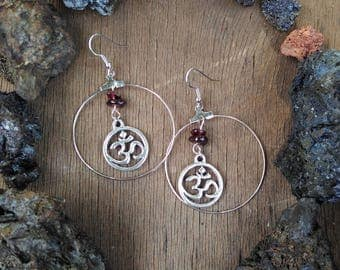Om earrings and Garnet beads