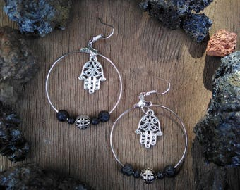 Hamsa and lava beads earrings