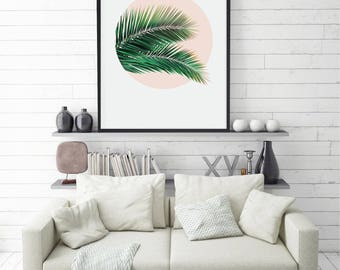 Palm Leaf Print, Palm Print, Tropical Leaf, Palm Art, Tropical Print, Plant Print, Printable Art, Poster, Home Decor, Large Size, Resizable