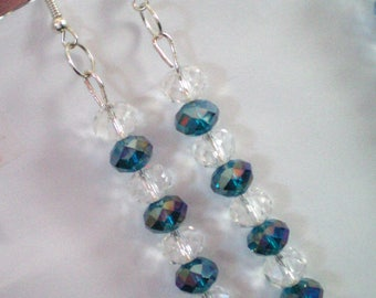 Earrings dangle 8 or 9 Blue Crystal beads - approximately 7 cms h