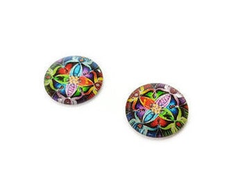 Glass cabochons 12 mm illustrated x 2