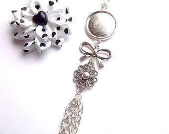Support necklace silver cabochon 18mm, BowTie, flower, chains