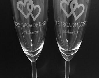 Laser Engraved Wedding Champagne Glass / flute set