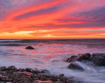 Fire In The Sky 2.0, Gooseberry Sunset, Westport, MA Fine Art Photographic Print