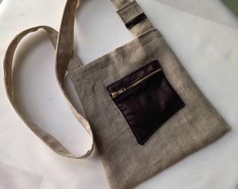 Clutch bag shoulder linen and faux leather