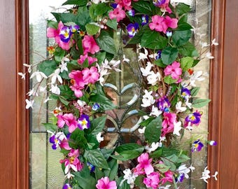Spring Wreath, Summer Wreath, Large Oval Wreath, Purple, White, and Pink Floral Wreath, Dragonfly Wreath